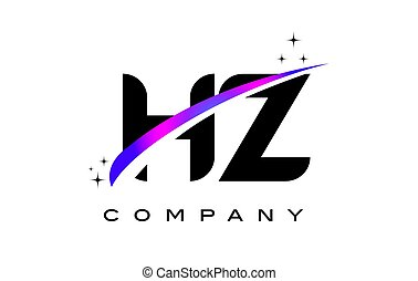 HZ H Z Black Letter Logo Design With Purple Magenta Swoosh