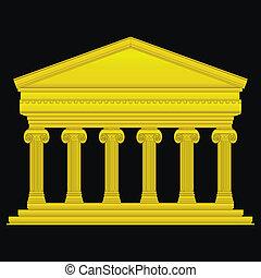 iónico, templo, oro