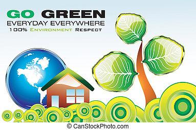 iść, środowisko, zielony, karta