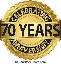 iść, świętując, 70, rocznica, lata