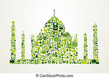 iść, indie, pojęcie, zielony, ilustracja