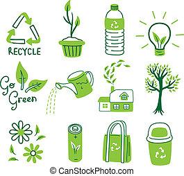 iść, komplet, zielony, ikona