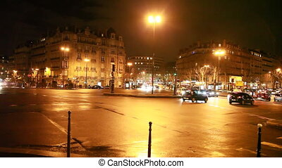 iść, miasto, crossroads, wozy