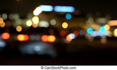 iść, miasto, wieczorny, wozy