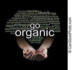 iść, organiczny, afisz, kampania