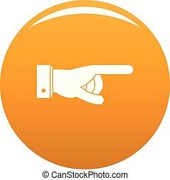 iść, pomarańcza, wektor, ręka, ikona