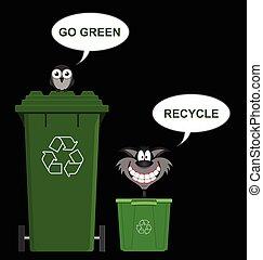 iść, przerabianie surowców wtórnych, zielony