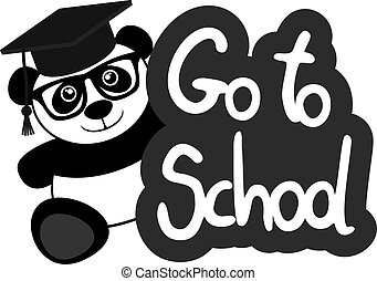 iść, szkoła, niedźwiedź