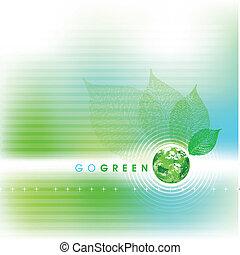 iść, tło, zielony