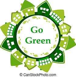 iść, zielony