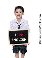"""""""i, 保有物, 愛, メッセージ, 男生徒, english"""", アジア人, 黒板"""