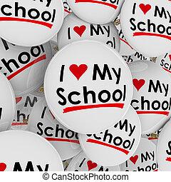 i, 愛 中心, 私, 学校, ボタン, ピン, 誇り, 得意である, 生徒