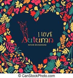i, 愛, autumn., ベクトル, デザイン, イラスト, ∥で∥, heart.