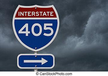 I-405 interstate USA highway road sign