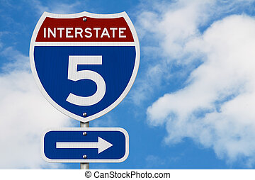 I-5 interstate USA highway road sign