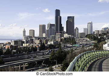 I-5 through Seattle Downtown - View of Seattle Downtown ...