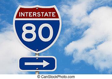 I-80 interstate USA highway road sign