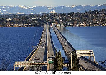 I-90 Bridge Seattle Mercer Island Snowy Cascade Mountains ...