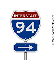 I-94 interstate USA highway road sign