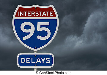 I-95 interstate delays USA highway road sign