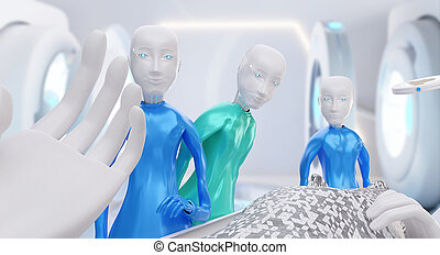 I am a robot point of view. Hands in front of the face. View from a bed on robots and technological equipment 3d-illustration