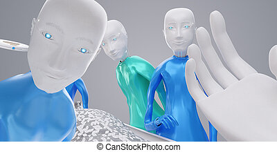 I am a robot point of view. medical care. View from a bed on robots and technological equipment 3d-illustration