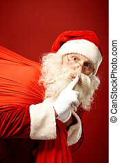 I am already coming - Portrait of Santa Claus with huge red...