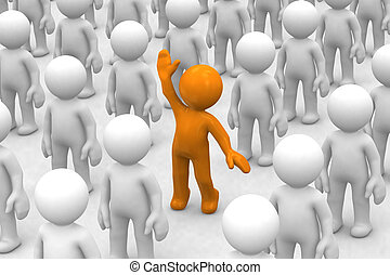 I am here! - 3d human who is different from the crowd