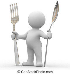i am hungry - 3d cute people very hungry with big spoon and...