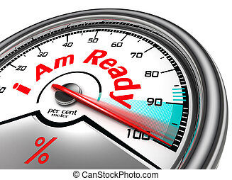 i am ready hundred per cent conceptual meter, isolated on white background