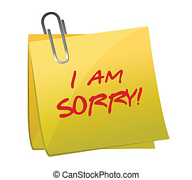 I am sorry message on a post it