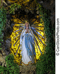 A statue of Our Lady of Lourdes in Floriana, Malta