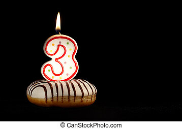 I am three years old now! Happy birthday! Holiday background with copyspace for your text.