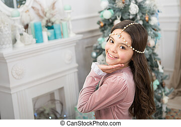 I am waiting. awaiting new year. pretty little princess celebrate christmas. smiling cute child at home. happy new 2020 year. holiday party celebration. christmas home decoration. xmas shopping time