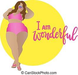 I am wonderful. Body positive, curvy girl in bikini. Vector icon plus size woman