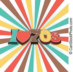 i, amor, 70s, vetorial, vindima, arte