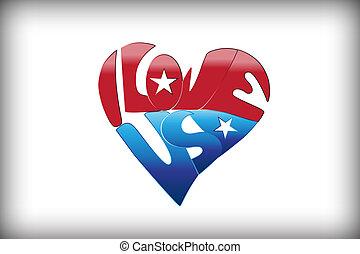 i, amor, eua, em, um, coração, amor, logotipo, vetorial