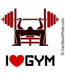 i, amor, ginásio, símbolo