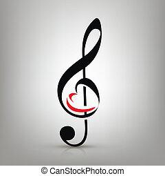 i, amor, música, conceito, clef treble, com, um, ilustração, de, um, heart-shaped
