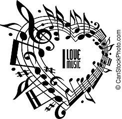 i, amor, música, conceito, preto branco, design.