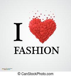 i, amor, moda, coração, sinal.