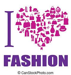 i, amor, moda, fundo