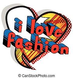 i, amor, moda, -, livro cômico, estilo, word.