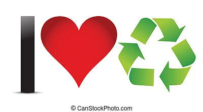 i, amor, recicle, ilustração