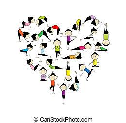 i, amor, yoga!, forma coração, para, seu, desenho