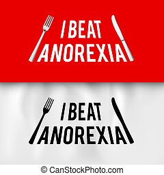 Ironic Slogan - I Beat Anorexia: Ironic Slogan with Fork and...