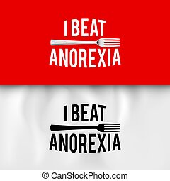 Ironic Slogan - I Beat Anorexia: Ironic Slogan with Fork on...