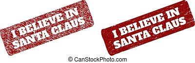 I BELIEVE IN SANTA CLAUS Red Rounded Rough Rectangle Stamp Seal with Rubber Surfaces