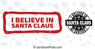 I Believe in Santa Claus Scratched and Clean Stamp Seals for New Year