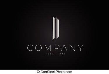 I black white silver letter logo design icon alphabet 3d